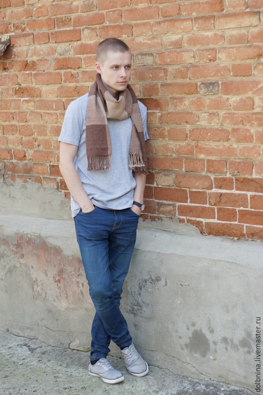 Шарфы и шарфики ручной работы. Ярмарка Мастеров - ручная работа. Купить Домотканый мужской шарф brown alpaca. Handmade. Коричневый