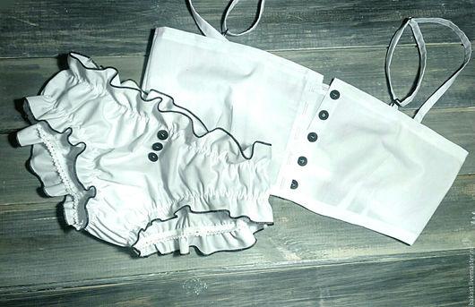 Белье ручной работы. Ярмарка Мастеров - ручная работа. Купить Комплект домашнего белья ручной работы. Handmade. Белый, однотонный