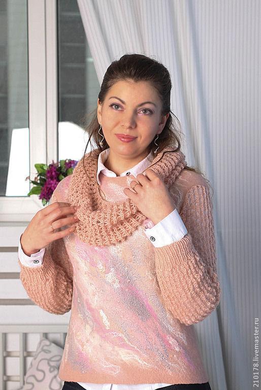 Войлочный свитер с вязаными рукавами и воротником, валяный свитер купить, авторский войлок Татьяны Вицке