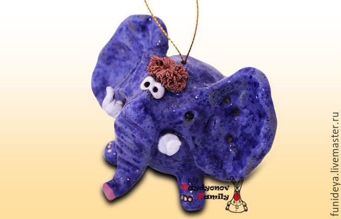 Миниатюрные модели ручной работы. Ярмарка Мастеров - ручная работа. Купить Слон, керамический колокольчик. Синий слон. Слон колокольчик. Handmade.