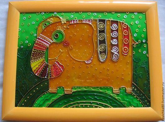 Животные ручной работы. Ярмарка Мастеров - ручная работа. Купить Чудный слон. Handmade. Слон, картина, детское, ярко, стекло