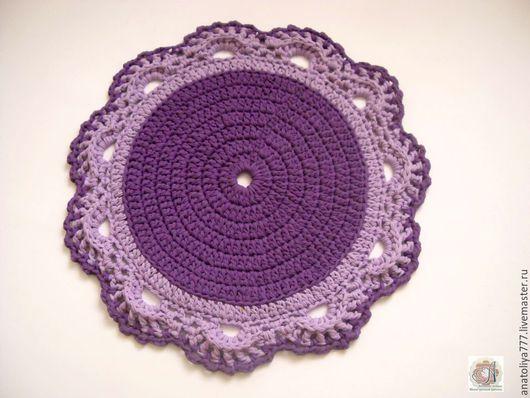 Текстиль, ковры ручной работы. Ярмарка Мастеров - ручная работа. Купить Вязаный коврик из трикотажной пряжи Фиолетовый цветок. Handmade.