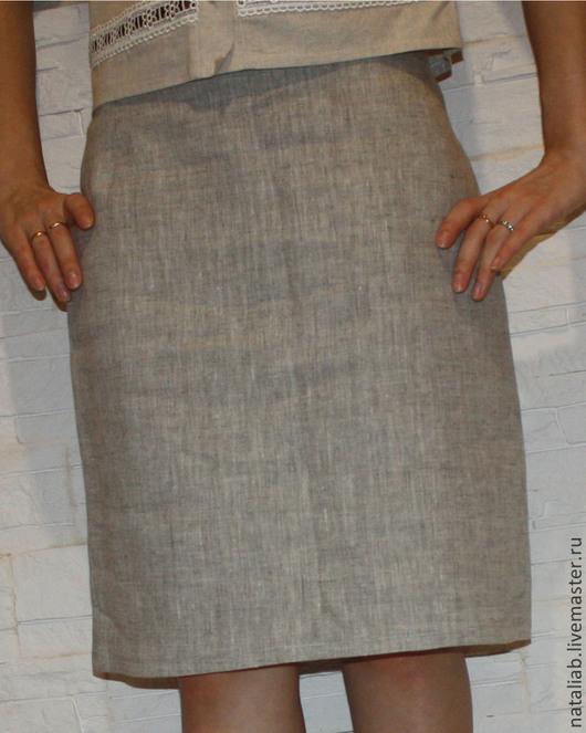 Юбки ручной работы. Ярмарка Мастеров - ручная работа. Купить Льняная юбка. Handmade. Серый, льняная юбка, юбочка из льна