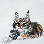 Картины ручной работы. Ярмарка Мастеров - ручная работа Картина В ожидании чуда 50x40 суми-э Мейн-кун кот кошка тушь оранжевый. Handmade.