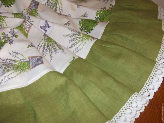 """Текстиль, ковры ручной работы. Ярмарка Мастеров - ручная работа. Купить Скатерть""""Прованские травы"""". Handmade. Сиреневый, салатовый, скатерть льняная"""
