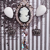 """Винтаж ручной работы. Ярмарка Мастеров - ручная работа Антикварный набор: камея, кристаллы и подвески """"Black-white"""". Handmade."""