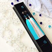 Украшения handmade. Livemaster - original item Earring of the brush and Grey Blue grey blue grey blue. Handmade.