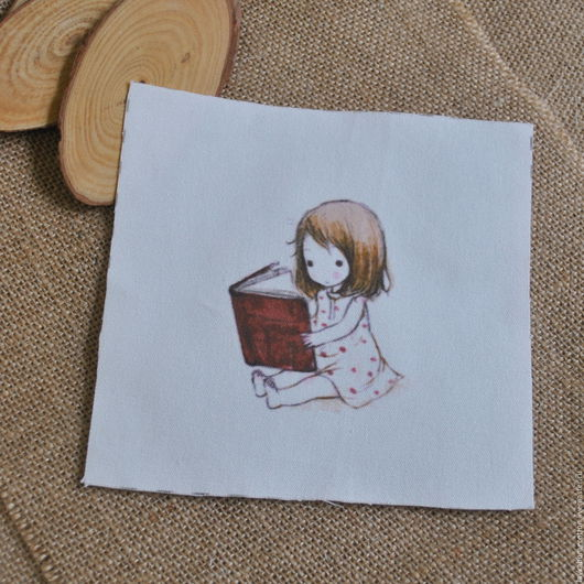 Купон Девочка с книгой, лен 15х15, 3148