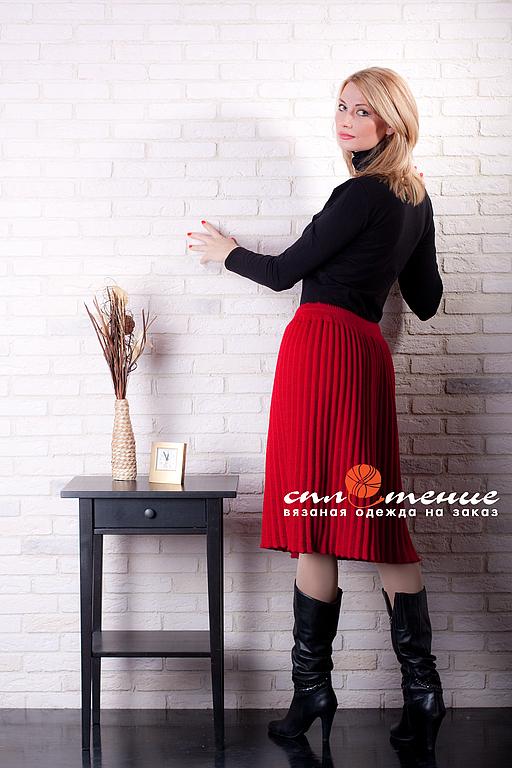 Юбки ручной работы. Ярмарка Мастеров - ручная работа. Купить Вязаная юбка плиссе. Handmade. Плиссе, теплая юбка, для офиса