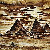 Картины и панно handmade. Livemaster - original item 3 Coffee paintings - a series of Egypt. Handmade.