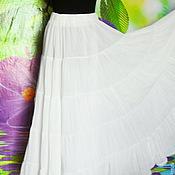 Одежда ручной работы. Ярмарка Мастеров - ручная работа Юбка длинная,белая,ярусная,на резинке,жатка. Handmade.