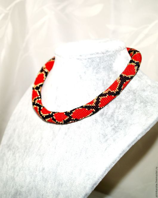 Украшения ручной работы, украшение на шею, красный жгут из бисера питон