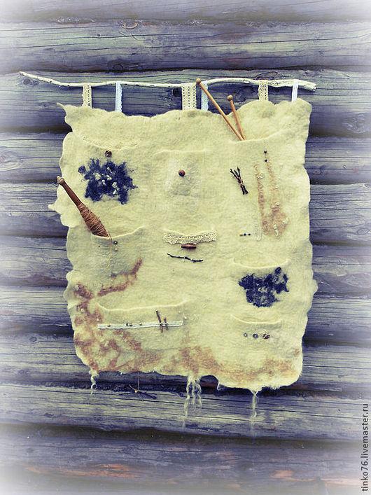 Этно ручной работы. Ярмарка Мастеров - ручная работа. Купить Эко-панно с кармашками. Handmade. Бежевый, кантри стиль