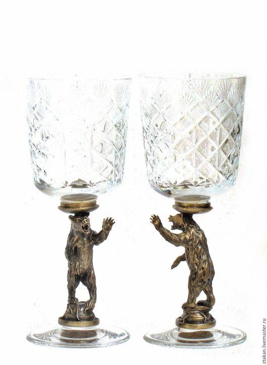"""Бокалы, стаканы ручной работы. Ярмарка Мастеров - ручная работа. Купить Бокалы """"МЕДВЕДИ"""" набор из 2х предметов. См. описание.. Handmade."""