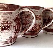 """Посуда ручной работы. Ярмарка Мастеров - ручная работа Чашки глиняные """"рисунки на снегу"""". Handmade."""
