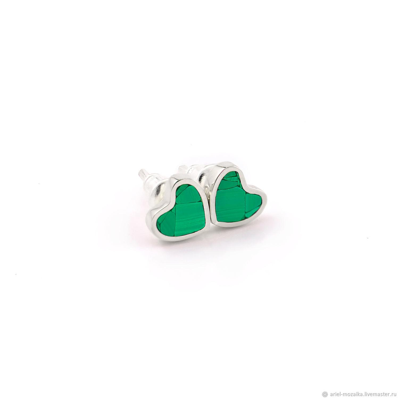 Heart Earrings. Malachite natural. Silver stud earrings, Stud earrings, Moscow,  Фото №1