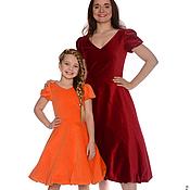 Одежда ручной работы. Ярмарка Мастеров - ручная работа Платья из бархата для мамы и дочки. Handmade.