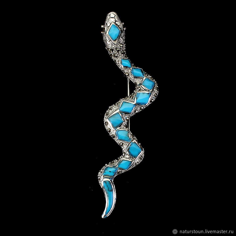 Брошь Змея с синей бирюзой, Брошь-зажим, Санкт-Петербург,  Фото №1
