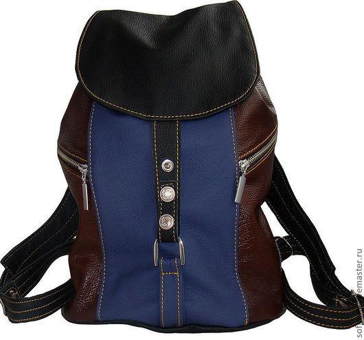 Рюкзаки ручной работы. Ярмарка Мастеров - ручная работа. Купить Рюкзак маленький женский трехцветный Синий-Коричневый-черный. Handmade.