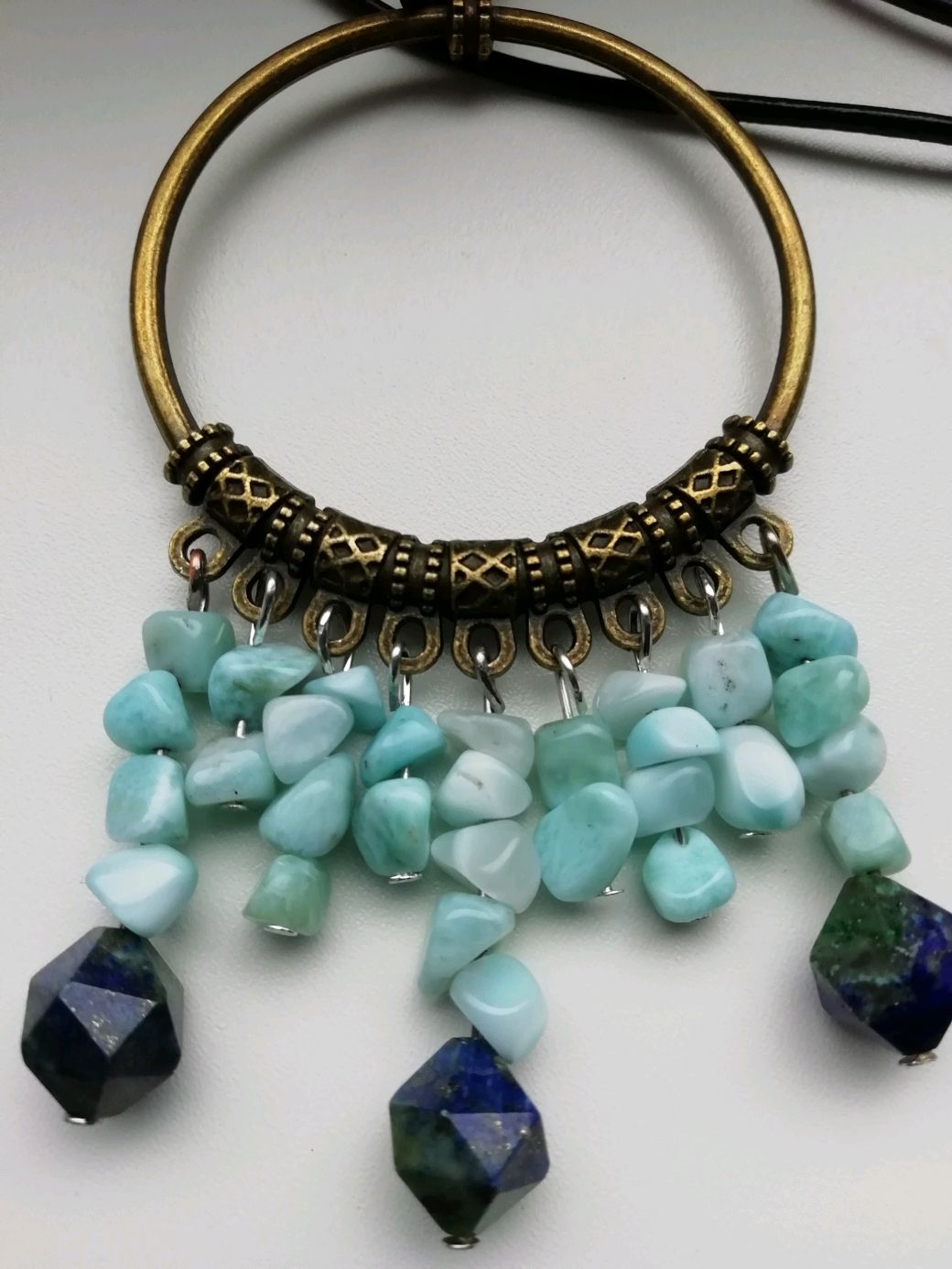 Boho necklace with larimar and azurmalachite ' TREASURES of the SCYTHIANS', Necklace, Moscow,  Фото №1