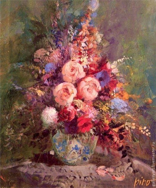 Flower Paintings handmade. Livemaster - handmade. Buy The Painting 'Flowers Pinot Daeni' ...
