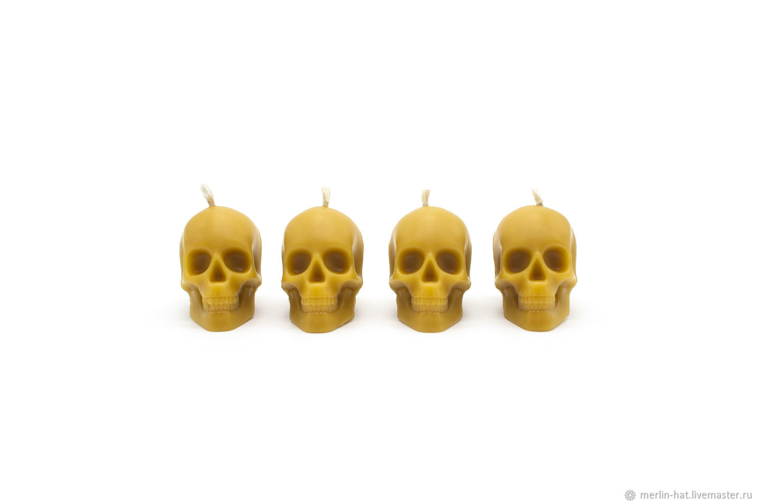 Beeswax candle 'Skull' set of 4 pieces, Candles, Tambov,  Фото №1