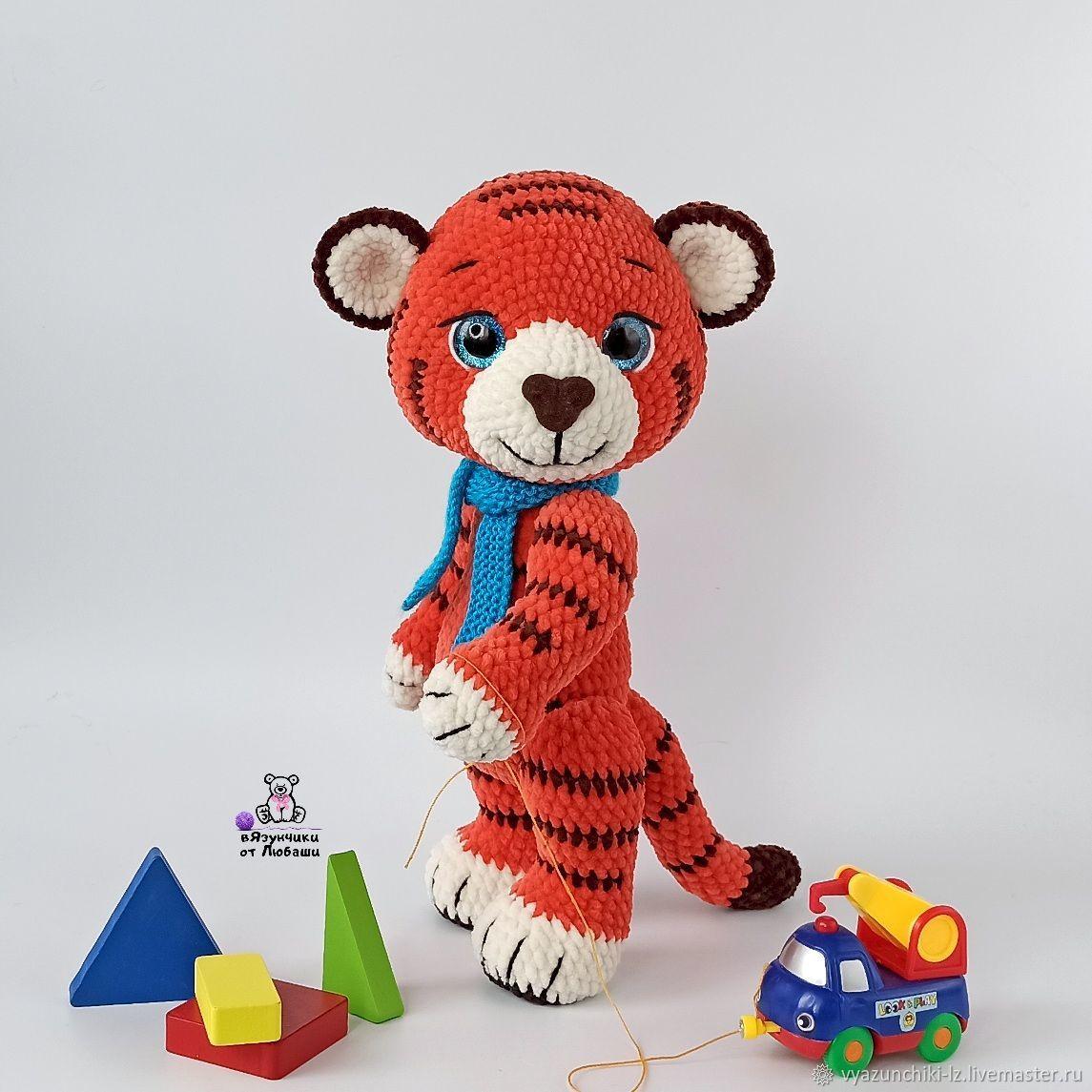 Тигренок Ло вязаная игрушка тигр из плюшевой пряжи в подарок, Мягкие игрушки, Волоколамск,  Фото №1