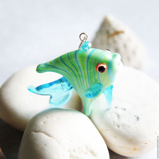 Кулоны, подвески ручной работы. Ярмарка Мастеров - ручная работа. Купить Кулон Мятная рыбка. Handmade. Мятный, голубой