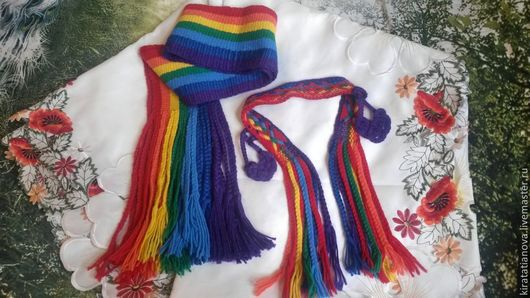 Этническая одежда ручной работы. Ярмарка Мастеров - ручная работа. Купить Радужный шарф и повязка на голову. Handmade. В полоску