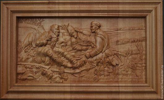 Пейзаж ручной работы. Ярмарка Мастеров - ручная работа. Купить Охотники на привале. Handmade. Коричневый, резная икона, дерево, ясень