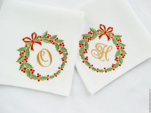 Новогодние салфетки с вышивкой `Рождественский венок`. `Шпулькин дом` мастерская вышивки