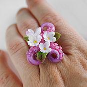 Украшения handmade. Livemaster - original item Octopus Tentacle Ring with Flowers, Polymer Clay. Handmade.