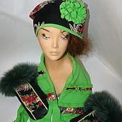 """Аксессуары ручной работы. Ярмарка Мастеров - ручная работа Комплект """"Молодо-зелено..."""" шапочка+шарф+рукавички. Handmade."""