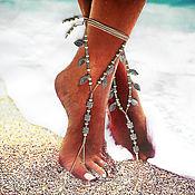 """Украшения ручной работы. Ярмарка Мастеров - ручная работа Украшения для ножек """"Серебро"""", браслет на ногу. Пляжное украшение. Handmade."""