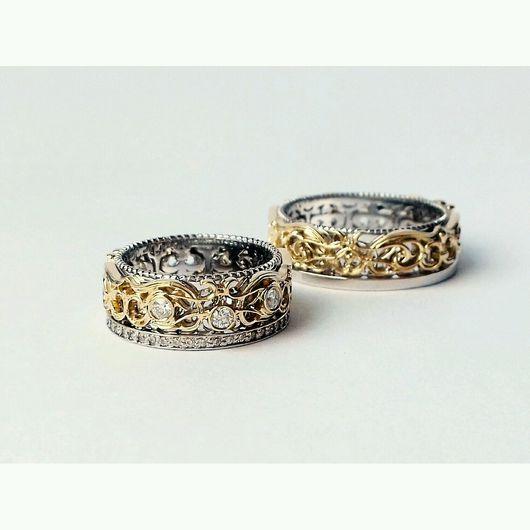 Кольца ручной работы. Ярмарка Мастеров - ручная работа. Купить Обручальные кольца с бриллиантами. Handmade. Золото 585 пробы, бриллианты