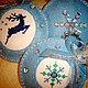 Набор игрушек (6 шт.) из фетра с ручной вышивкой в норвежском стиле.