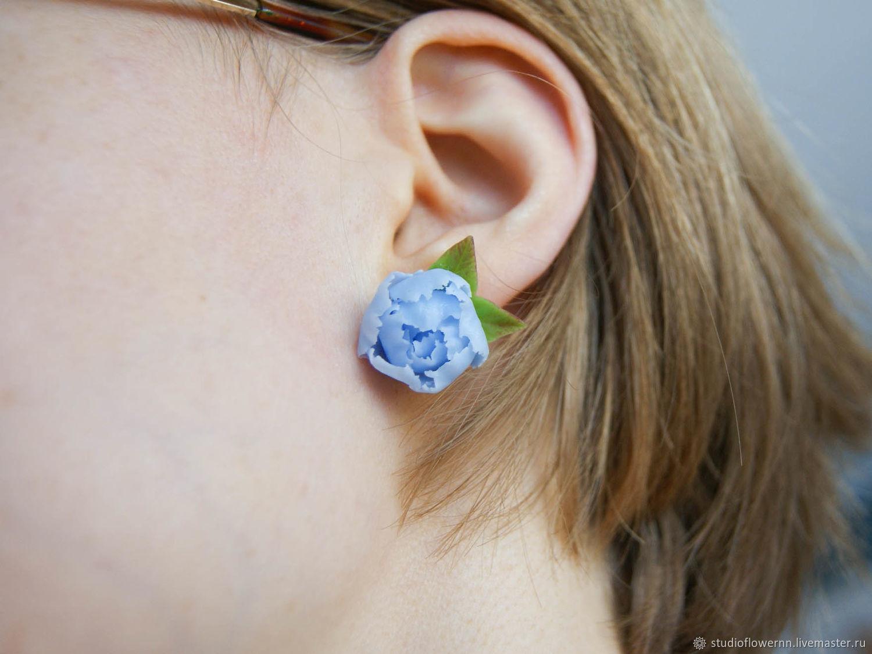 Blue peony stud earrings, polymer clay, sky blue, Stud earrings, Nizhny Novgorod,  Фото №1