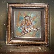 Картины и панно ручной работы. Ярмарка Мастеров - ручная работа картина пастелью Лесная заметка (в рамочке состаренной вручную). Handmade.