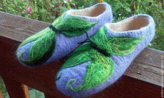 Обувь ручной работы. Ярмарка Мастеров - ручная работа. Купить Валяные тапочки с бабочками. Handmade. Пермь, валяная обувь, бабочка