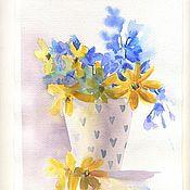 Картины и панно handmade. Livemaster - original item Watercolor painting Summer in a pot. Handmade.