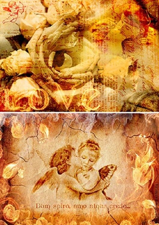 Декупаж и роспись ручной работы. Ярмарка Мастеров - ручная работа. Купить Декупажные карты «Любовь и ангелы».. Handmade. Карта для декупажа