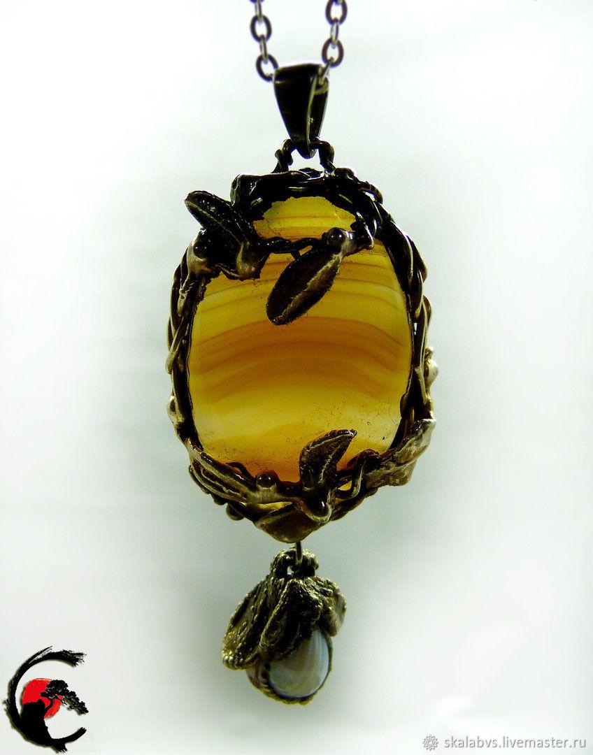 'Brasilia' pendant with cabochon of Brazilian agate!, Pendants, Chelyabinsk,  Фото №1