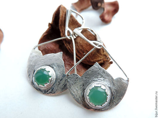 Серьги ручной работы. Ярмарка Мастеров - ручная работа. Купить Серебряные серьги  с зеленым ониксом. Handmade. Зеленый, серьги из камней