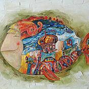 """Картины и панно ручной работы. Ярмарка Мастеров - ручная работа Картина маслом """"Рыба с городом"""". Handmade."""