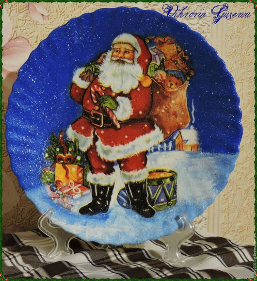 """Декоративная посуда ручной работы. Ярмарка Мастеров - ручная работа. Купить Тарелка декоративная """"Дед Мороз"""". Handmade. Тёмно-синий"""