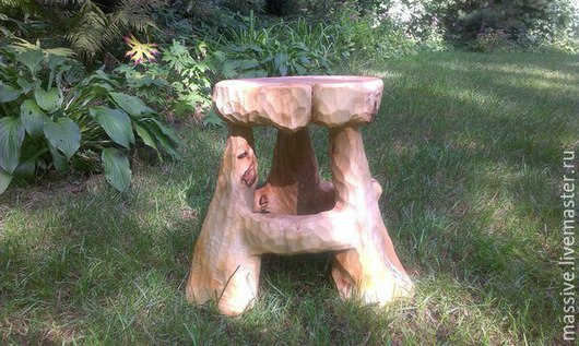Мебель ручной работы. Ярмарка Мастеров - ручная работа. Купить табурет из цельного ствола тополя. Handmade. Массив дерева