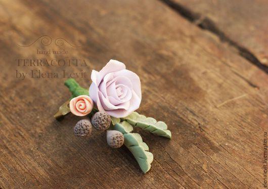 Мини-бутоньерка из полимерной глины.Terracotta by Elena Levit.
