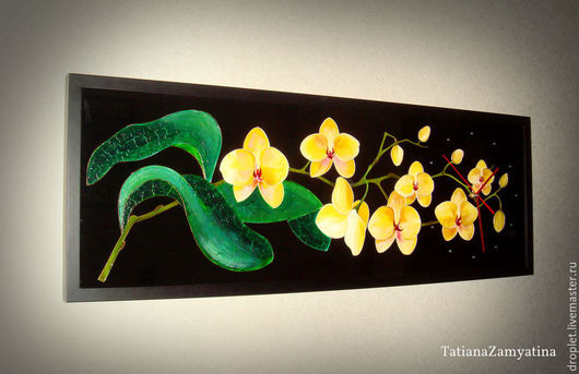 """Часы для дома ручной работы. Ярмарка Мастеров - ручная работа. Купить Часы настенные """"Желтые орхидеи"""" на черном стекле. Handmade."""