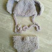 Работы для детей, ручной работы. Ярмарка Мастеров - ручная работа Комплект шапка и трусики серый зайчик. Handmade.