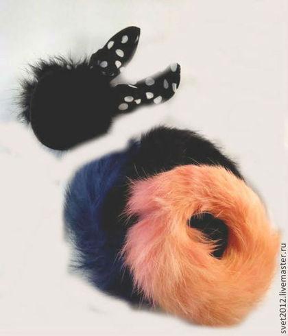 Заколки ручной работы. Ярмарка Мастеров - ручная работа Комплект из 4 резинок для волос из натурального кролиного меха. Handmade.